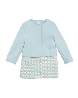 Chloe Wool Twill Crochet Two-In-One Coat, Light Blue, 6A-10A