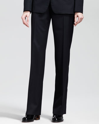 Classic One-Button Jacket and Flat-Front Skinny Pants