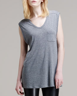 T by Alexander Wang Jersey Pocket Muscle Tee