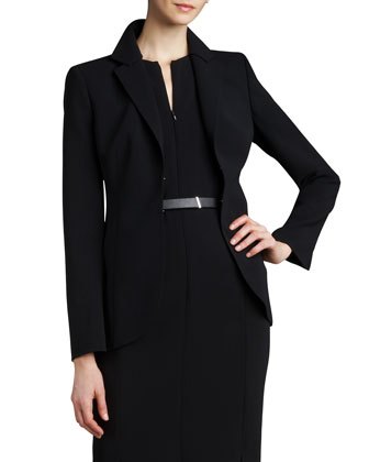 Hook-and-Eye Jacket, Sleeveless V-Neck Dress & Silver Banded Leather Belt