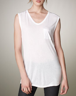 T by Alexander Wang V-Neck Pocket Tee, White