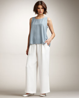 eskandar Wide-Leg Silk-Crepe Trousers