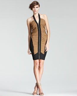 Donna Karan Colorblock Halter Dress