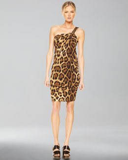 Michael Kors  One-Shoulder Dress, Leopard Print