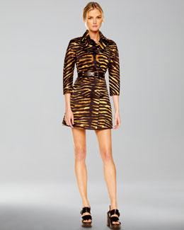 Michael Kors  Duchesse Double-Breasted Tiger Trench