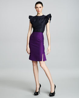 Yves Saint Laurent Fit-and-Flare Skirt, Purple
