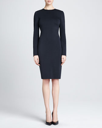 Long-Sleeve Fitted Milano Knit Dress, Caviar