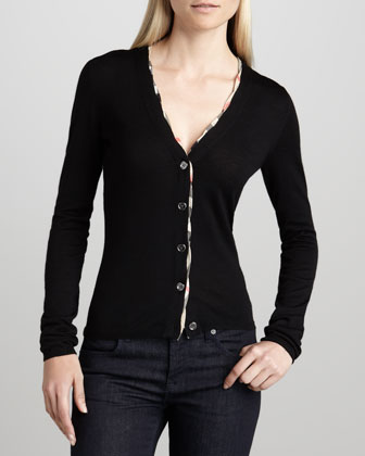 Check-Trim Cardigan