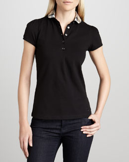 Burberry Brit Check-Collar Polo, Black
