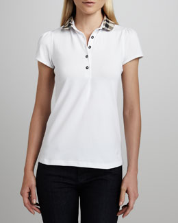 Burberry Brit Check-Collar Polo, White