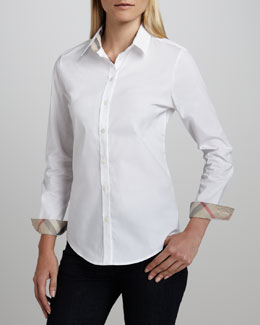 Burberry Brit Check-Collar Blouse, White
