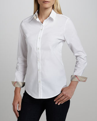 Check-Collar Blouse, White