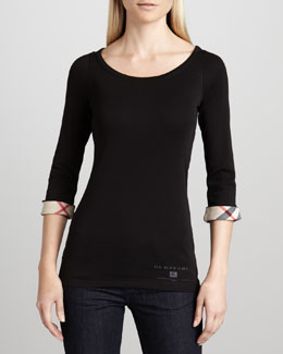 Burberry Brit Check-Cuff Jersey Tee, Black