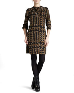 Burberry Brit Tweed-Print Silk Dress