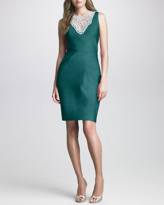 Lela Rose Bead-Neck Silk Dress - Neiman Marcus