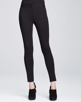 Drape-Neck Top & Double-Faced Jersey Leggings