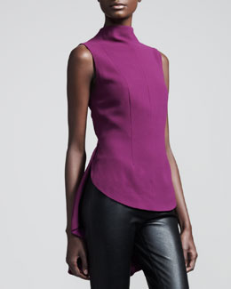 THE ROW Sleeveless Crepe Peplum Blouse