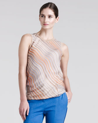 Wave-Stripe Chiffon Blouse
