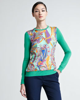Ralph Lauren Black Label Paisley Silk-Paneled Cashmere Sweater