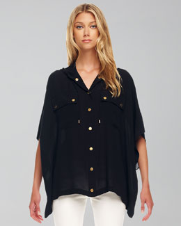 Michael Kors Hooded Oversize Silk Blouse