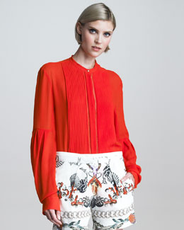 Roberto Cavalli Plisse Pleated-Bib Silk Blouse