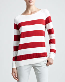 Loro Piana Natalie Striped Sweater with Scarf, Bully Red