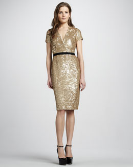 Burberry London Sequined V-Neck Dress