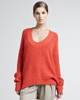 Donna Karan Alpaca-Blend Chainette Sweater