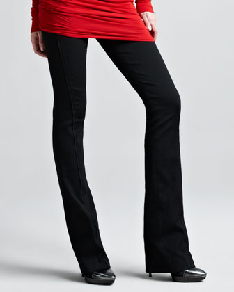 Off-the-Shoulder Long-Sleeve Tunic & Pull-on Seamed Stretch Pants