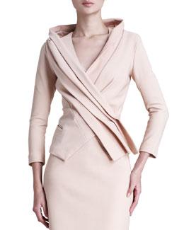 Donna Karan Matte Stretch Crossover Jacket