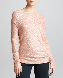 Donna Karan Asymmetric Sequined Cashmere Top