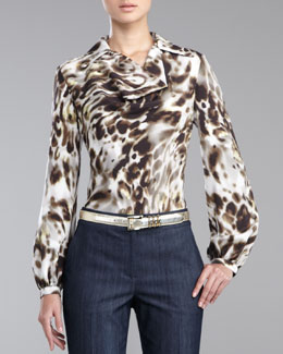 St. John Collection Leopard-Print Crepe de Chine Blouse