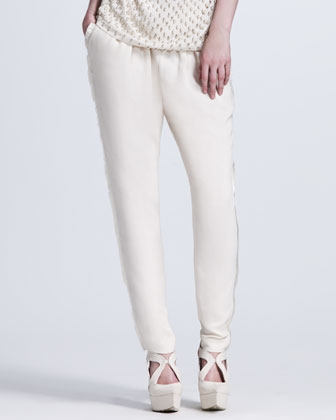 Eyelash Fringe-Trimmed Pants