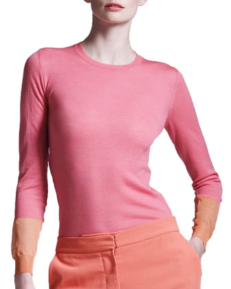 Colorblock-Cuff Sweater