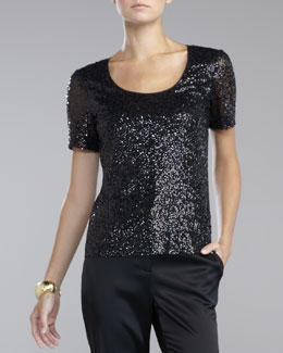 St. John Collection Sequined Tulle Blouse, Caviar