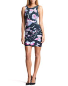 Butterfly-Print Ruched Sheath Dress