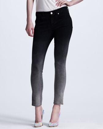 Ombre Skinny Jeans, Black/Gray