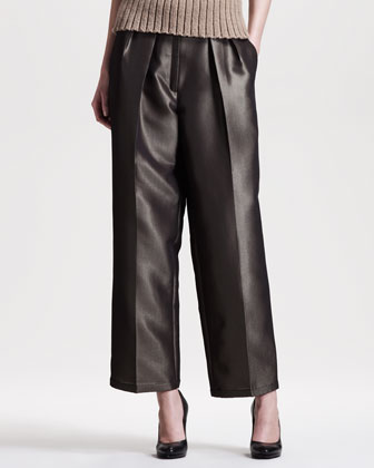 Metallic (Bronze) Wide-Leg Pants