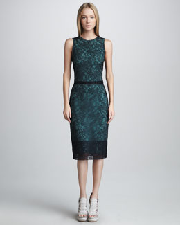 Vera Wang Chantilly Lace Shift Dress, Navy
