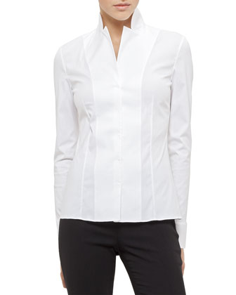 Short Evening Jacket, Long-Sleeve Notched-Collar Poplin Blouse & Carla ...