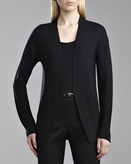 St. John Collection Ottoman Ribbed Collar Cardigan, Caviar