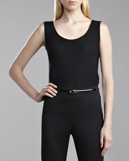 St. John Collection Ottoman Knit Sleeveless Shell, Caviar