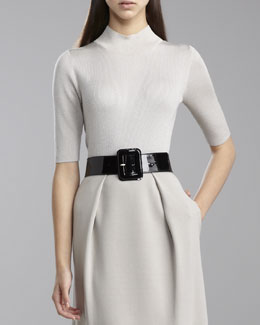 St. John Collection Fine Gauge Mock-Neck Sweater, Limestone