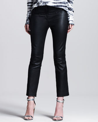 Stretch-Leather Cropped Boot-Cut Pants