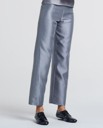 Cropped Wide-Leg Pants, Greige