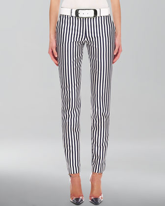 Striped Shantung Pants