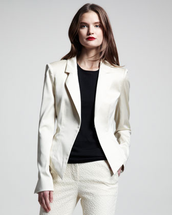 Lace-Up Stretch-Cotton Blazer
