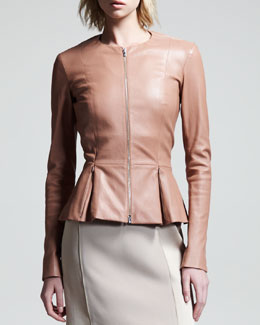 THE ROW Stretch-Leather Peplum Jacket
