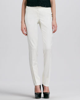 Burberry Prorsum Straight-Leg Pants, White