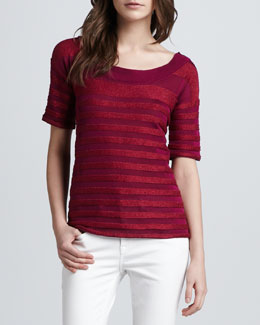 Burberry Brit Short-Sleeve Texture-Striped Tee